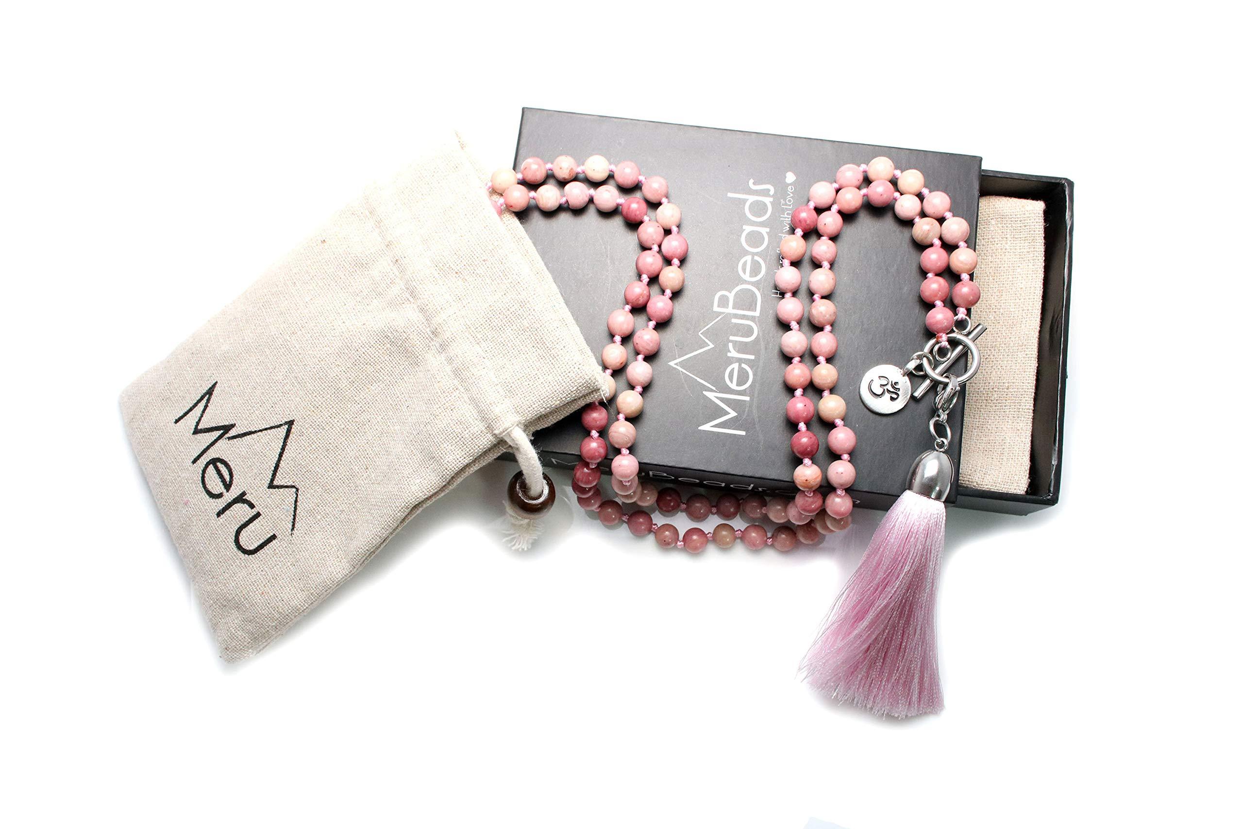 Premium 6mm Rhodonite Mala Beads Necklace