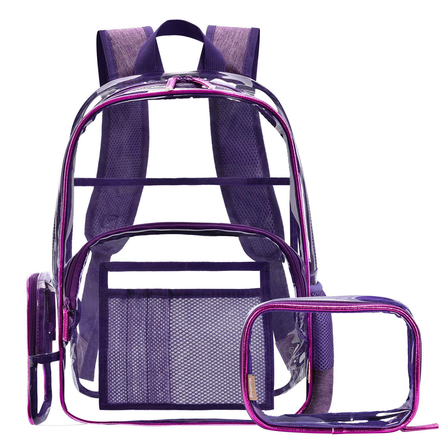 NiceEbag Clear Backpack with Cosmetic Bag Makeup Pouch,Clear Transparent PVC Backpack Multi-pockets School Bookbag See Through Travel Casual Rucksack with Pencil Case Fit 15.6 Inch Laptop,Noble Purple