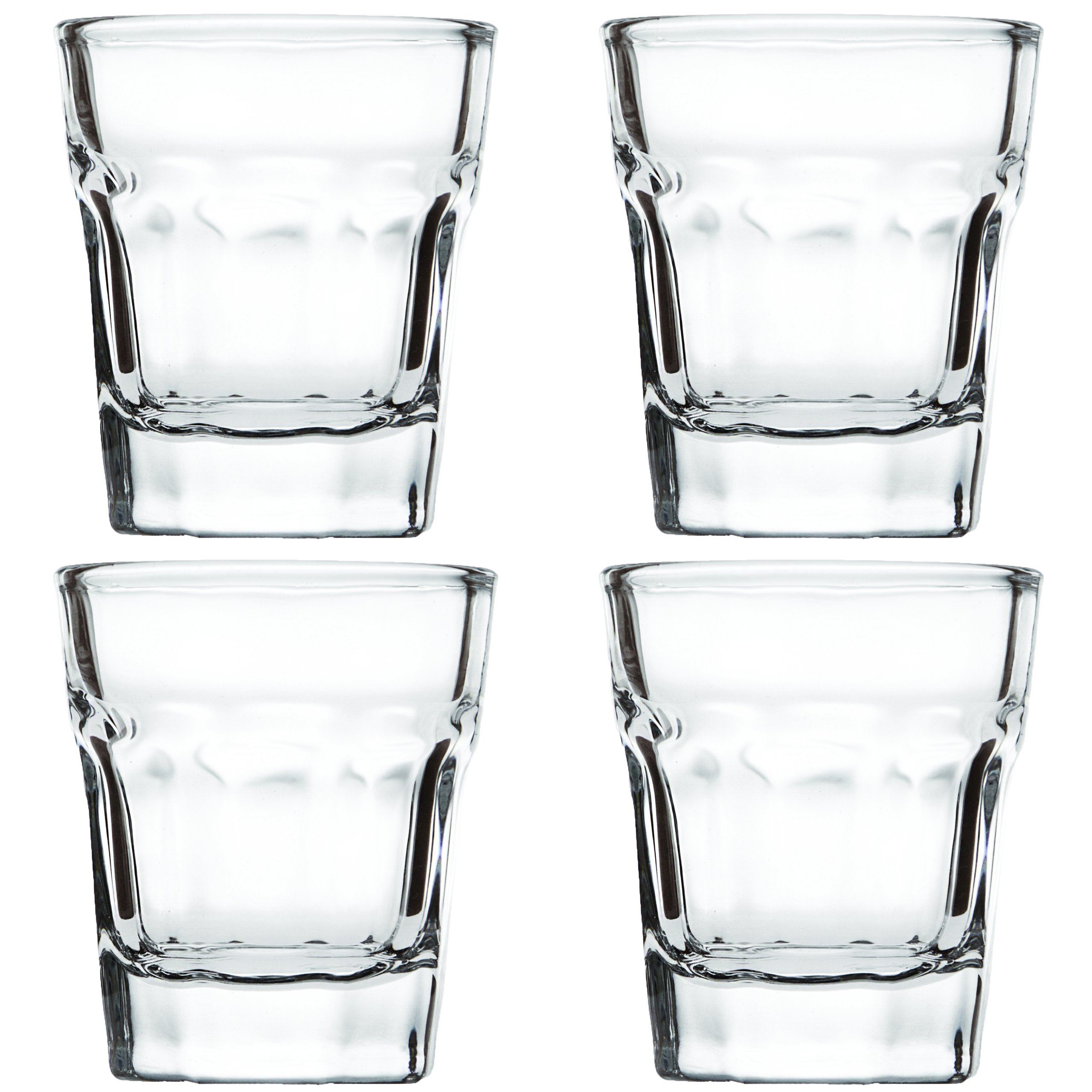 Shot Glass Set (4 Glasses) – Heavy Base 1.5 Ounce Shot Glasses For Liquor and Espresso – Bonus Tapered Liquid Pour Spout and Polishing Cleaning Cloth Included in Gift Packaging (Clear)