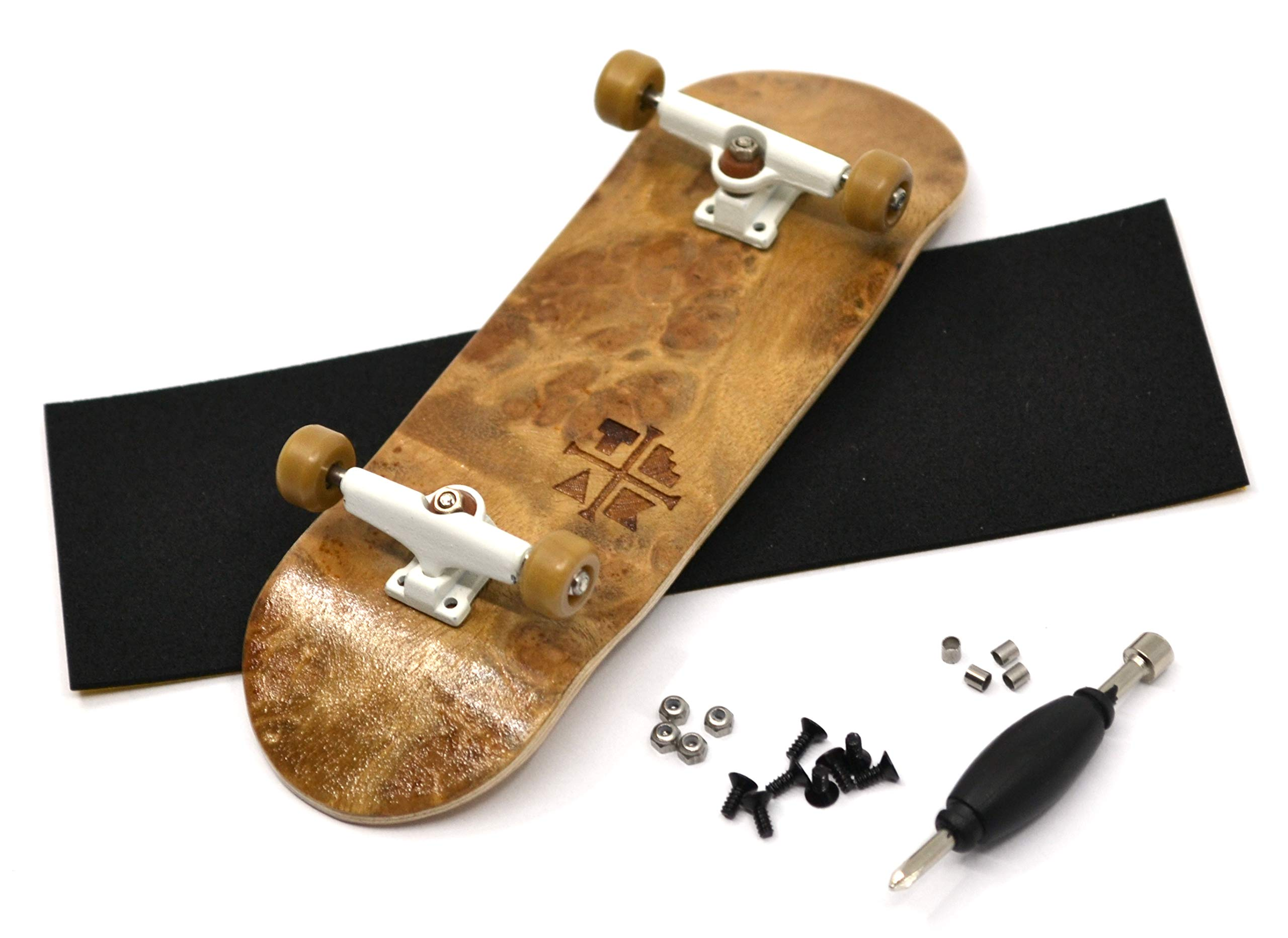 PROlific Complete Fingerboard with Upgraded Components - Pro Board Shape and Size, Bearing Wheels,Trucks, and Locknuts - 32mm x 97mm Handmade Wooden Board - Toasted S'Mores Burl Edition by Teak Tuning