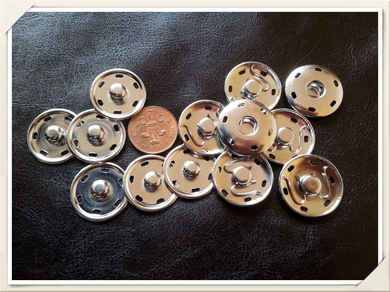 Grandi bottoni automatici, 30mm, in metallo, argento, con cuciture. Silver 30mm