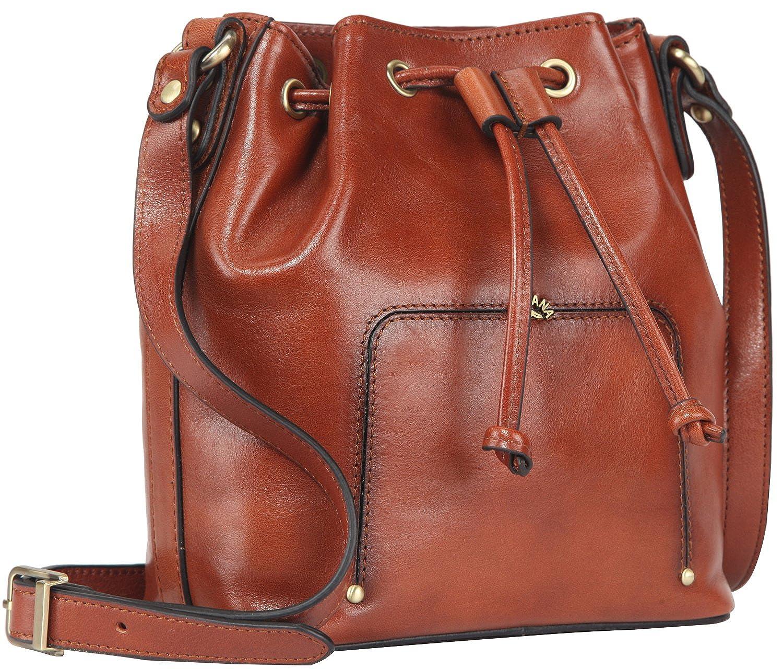 3cbfd529d9bf Mini Vintage Full Grain Italian Leather Shoulder Drawstring Bucket Bag for  Women Crossbody Messenger Purse  Handbags  Amazon.com