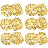 SKAVIJ Napkin Rings Set of 12 for Dinner Parties, Dining Table Decoration Handmade Napkin Holder (Gold)
