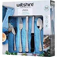 Wiltshire Stainless Steel Baguette Cutlery 50-Pieces Set, Silver
