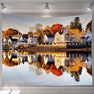 OTTOSUN Nature Tapestry Wall Hanging,Autumn in Portsmouth New Hampshire,Wall Art for Living Room Bedroom Home Decor,60x50 in