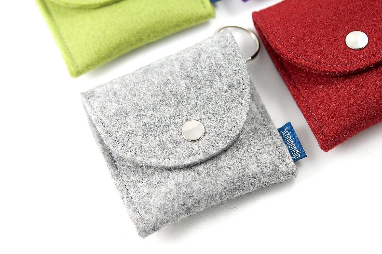 kleines Täschchen Etui Reisetasche für Kosmetik, Kleingeld, Nähzeug u.v.m. aus hochwertigem Wollfilz in hellgraumeliert-handgemacht und individualisierbar