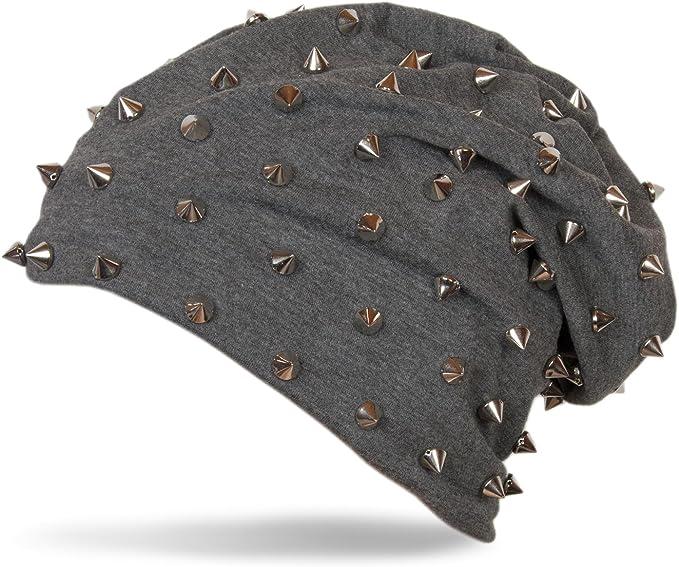styleBREAKER klassische Beanie Slouch Mütze mit Nieten und Futter 04024011