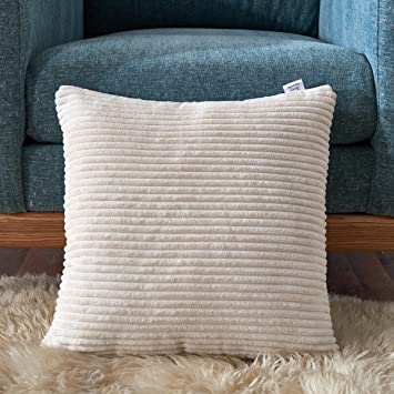 Smiry Soft Cozy Striped Throw Pillow Shams Velvet Corduroy Cushion Pillow  Case Decorative Sofa Cushion Cover