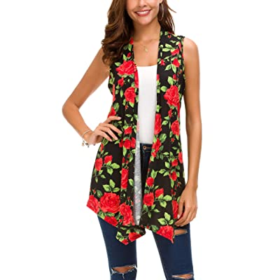 EXCHIC Women's Summer Floral Printed Vest Sleeveless Cardigan at Women's Clothing store