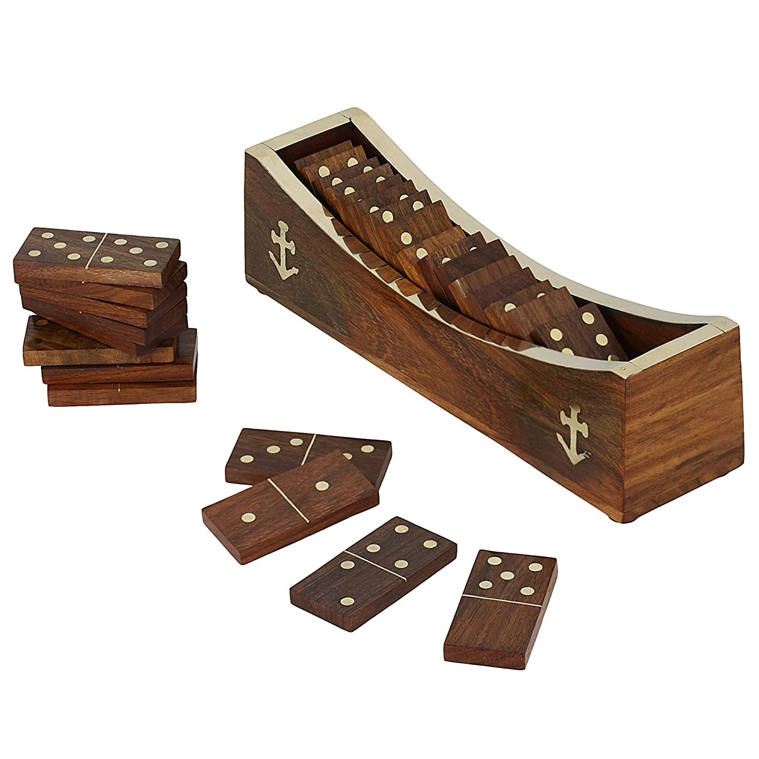 Amazon.com: Wooden Domino Game, Open Boat Tray and Pieces ...
