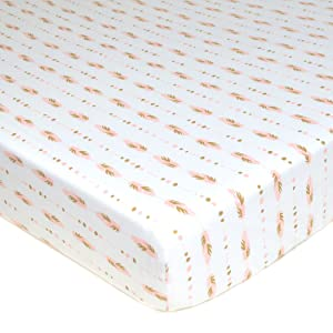 American Baby Company Printed 100% Cotton Jersey Knit Fitted Crib Sheet for Standard Crib and Toddler Mattresses, Sparkle Gold and Pink Feathers, for Girls
