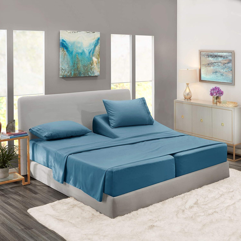Nestl Bedding Soft Sheets Set – 5 Piece Bed Sheet Set, 3-Line Design Pillowcases – Wrinkle Free – 2 Fit Deep Pocket Fitted Sheets – Free Warranty Included – Split King, Blue Heaven