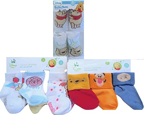 NEW Disney Baby Winnie The Pooh 0-6 Months Socks & Booties Socks Gift Set