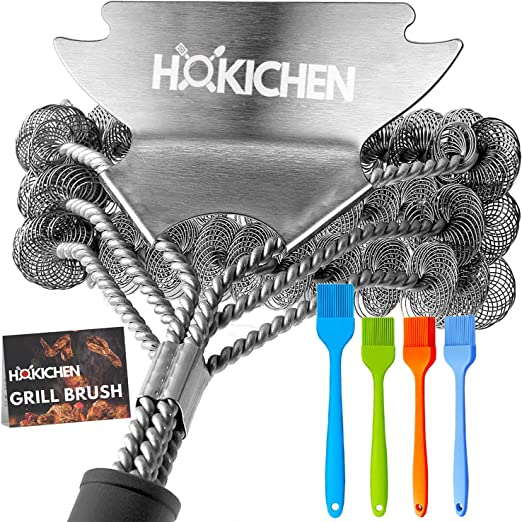 2x Edelstahl Grillbürste BBQ Reinigungsbürste Grill Bürste Grillreinigungsbürste
