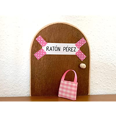 La auténtica puerta rosa mágica del Ratoncito Pérez. Con una preciosa bolsita de tela para dejar el diente. El Ratón Pérez, vendrá a por tu diente y te dejará una monedita.