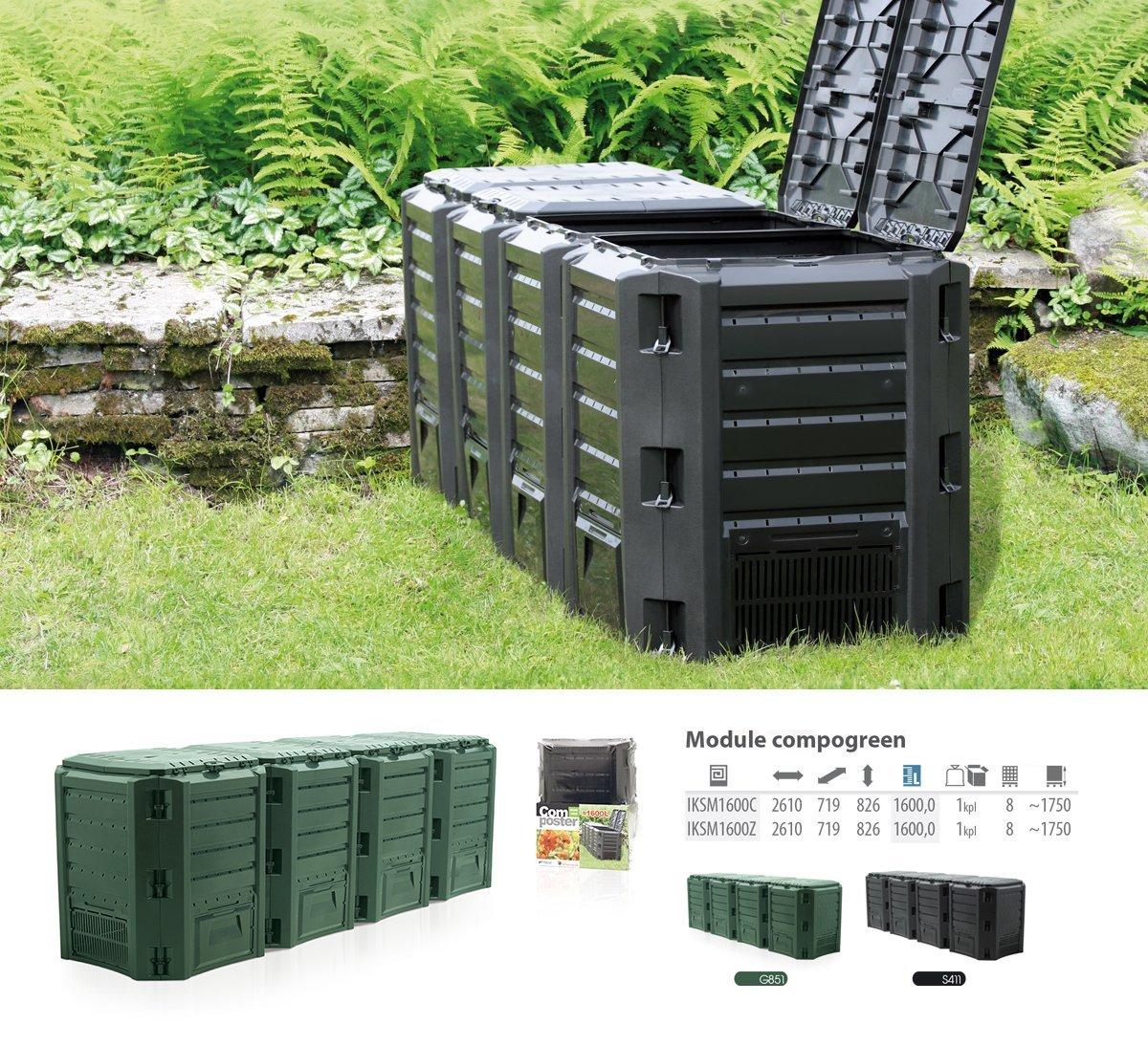 Prosperplast nbsp; –Compostiera da 1600L con materiale di alta qualità e resistente IKSM1600C-S411