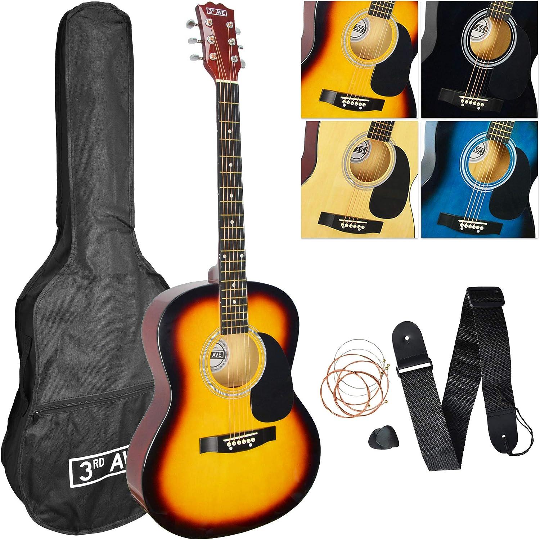 3rd Avenue STX10ASBPK - Paquete de guitarra acústica, Amarillo (Sunburst), Acústico, Paquete estándar