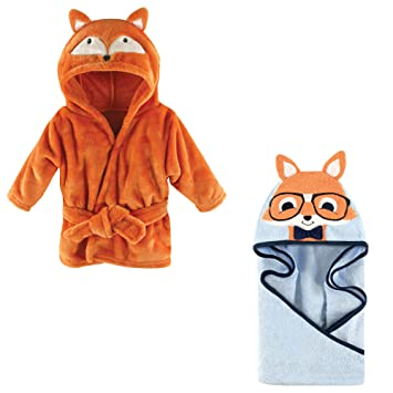 ffd0388bfe43 Amazon.com   Hudson Baby Plush Animal Robe with Terry Hooded Towel ...