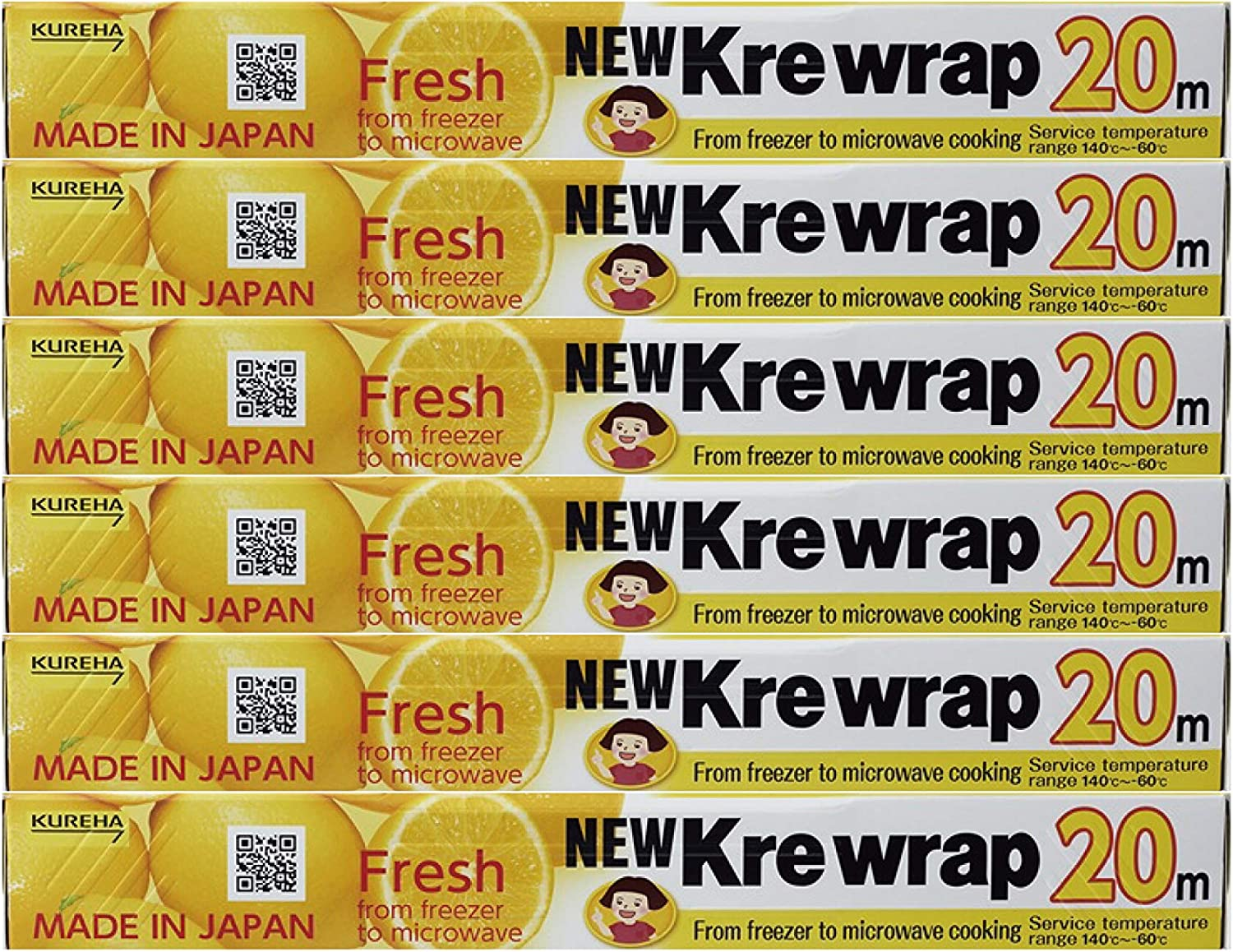 KUREHA NEW Krewrap Plastic Food Wrap, 65 Sq Ft, Pack of 6, Clear