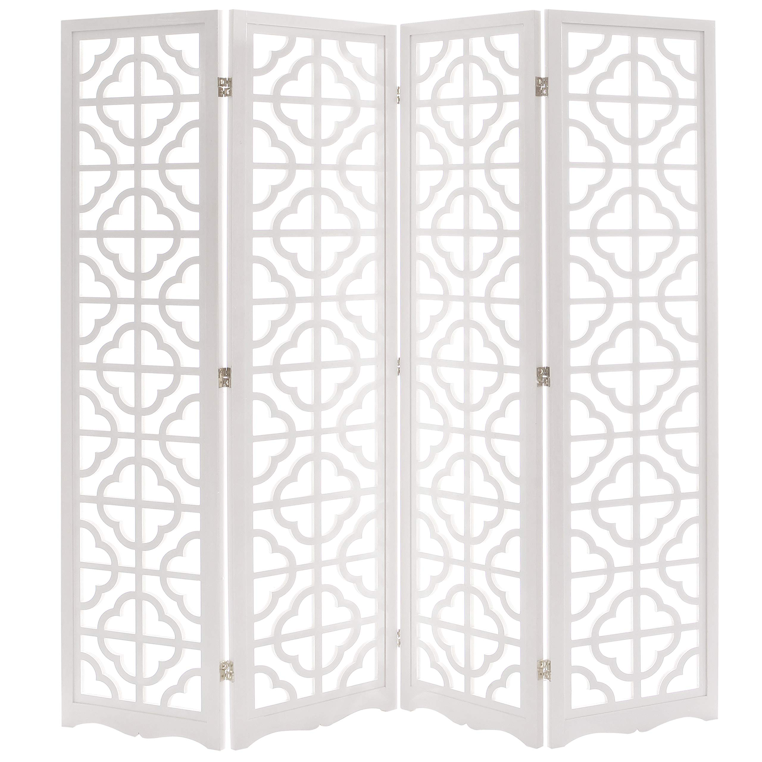 Modern 4 Panel Double Sided Folding Wood Screen, Moroccan Cutout Room Divider, White by MyGift