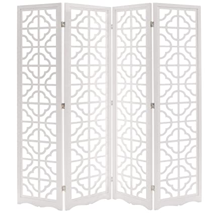 Marvelous Modern 4 Panel Double Sided Folding Wood Screen Moroccan Cutout Room Divider White Download Free Architecture Designs Scobabritishbridgeorg