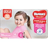 Huggies Ultra Dry Nappies, Girls, Size 6 Junior (16kg+), 14 Count