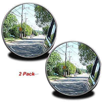 Zento Deals Pack of Two 2 Inch Stick-on Rearview Blind Spot Mirrors Aluminum Border Thin Car Mirrors: Automotive