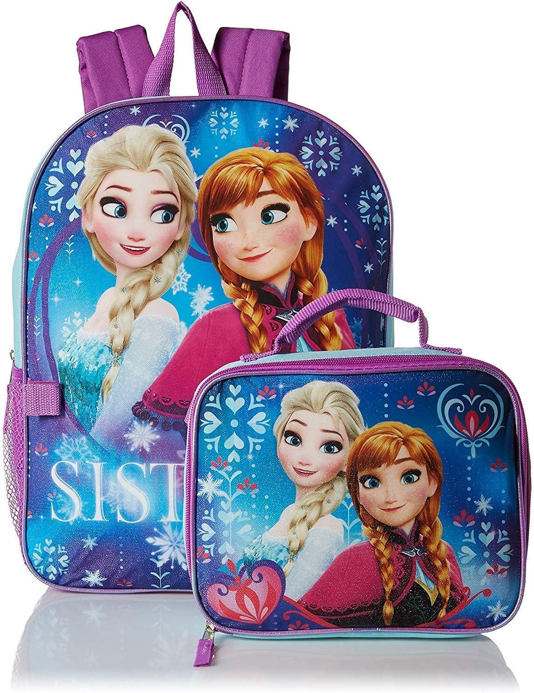 Frozen Disney Elsa Anna Girls Kids Cartoon School Backpack Bookbag Lunch Box SET