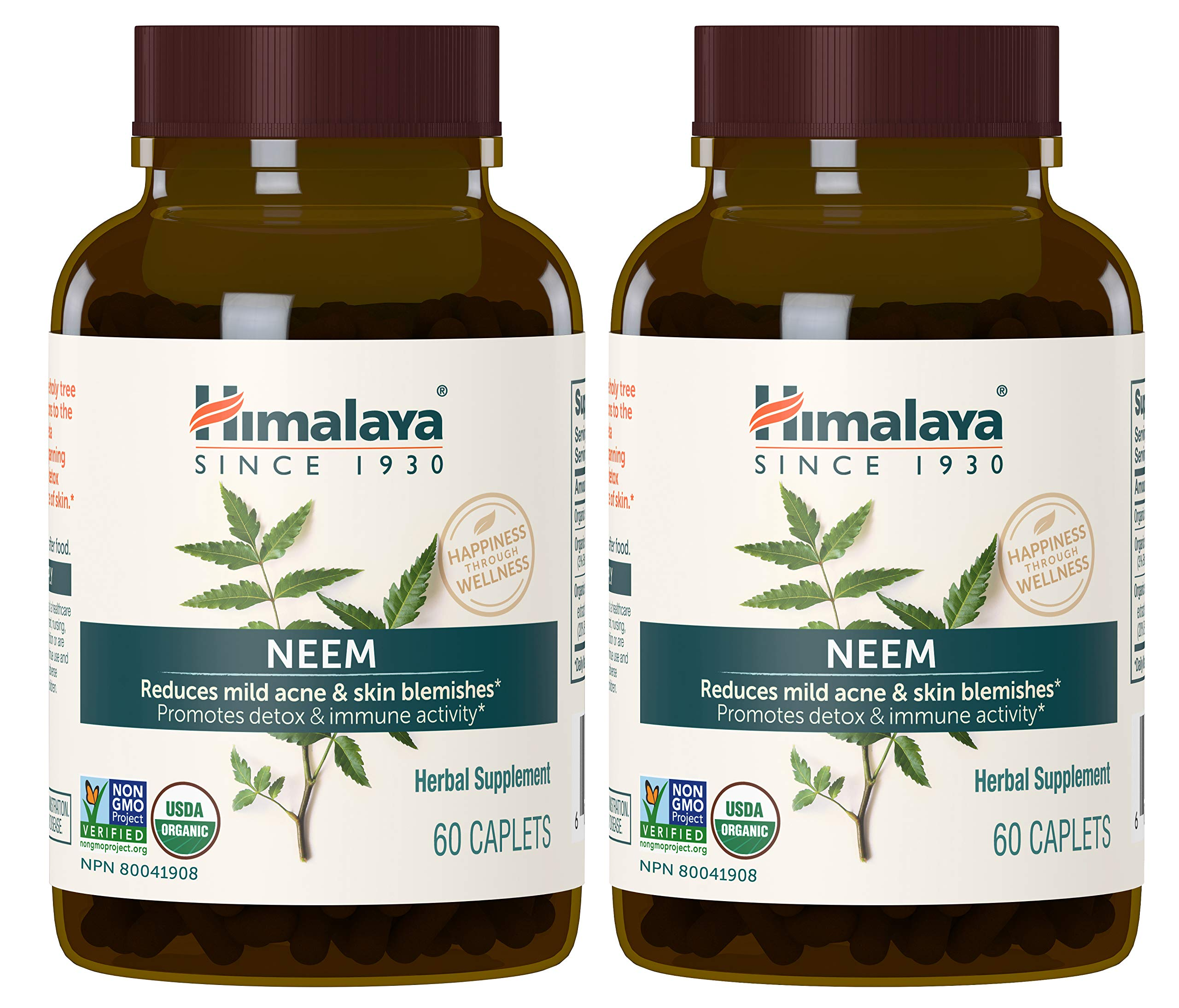 Himalaya Organic Neem (2 Pack) for Mild Acne & Healthy Skin 60 Caplets 600mg