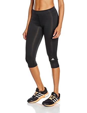 adidas Women's Techfit Capri Tights - Black/Black/PLAMAT, 2X-Small