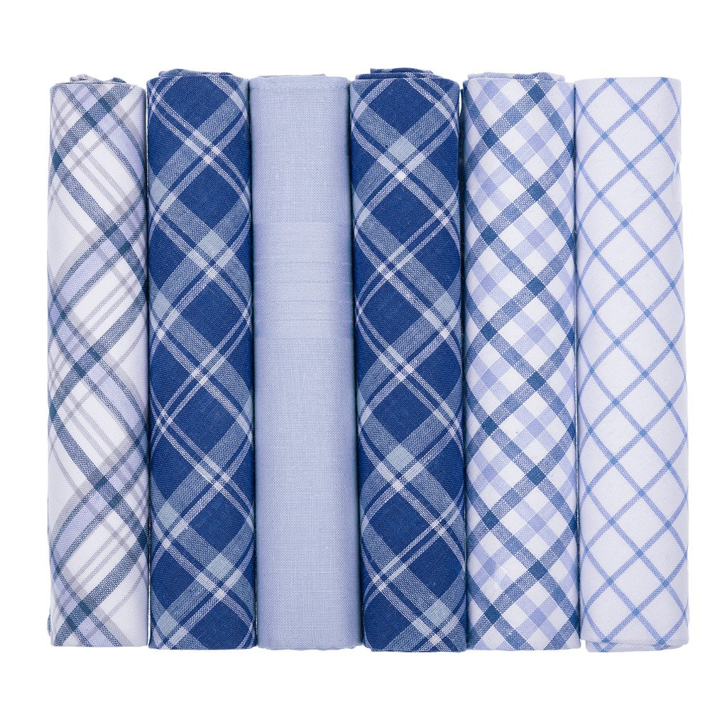 6 Pack Mens Gents Handkerchiefs Mixed Blue and White Check Plaid and Plain Dyed 100% Cotton Material Handkerchief Hankies - Supplied Boxed Perfect Gift for Men
