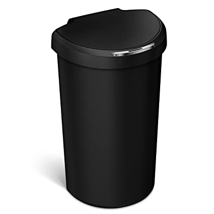 Simplehuman 40L Semi Round Sensor Can, Automatic Motion Sensor Trash Can,  Black Plastic