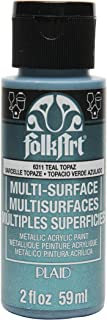 product image for FolkArt Multi-Surface Metallic Paint in Assorted Colors (2 oz), Metallic Teal Topaz