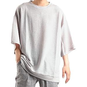 バレッタ クルーネック ビッグTシャツ 五分袖 無地 ワッフル素材 メンズ グレー Mサイズ