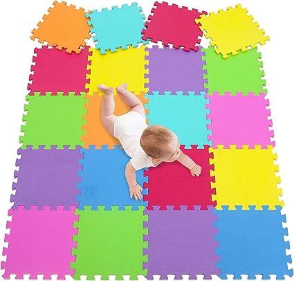 meiqicool 20 Lồng ghép màu cho trẻ em Gạch lát sàn hoạt động Mat Puzzle Mat 3009G20