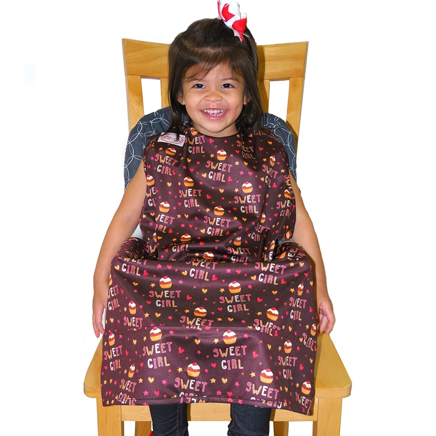 BIB-ON XL, A New, Full-Coverage Bib and Apron Combination for Ages 3 and Up. (Sweet Girl Cupcakes (BIB-ON XL))…