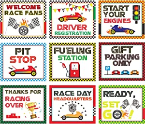 Racing Car Party Decorations, 10-11.8 Inch Laminated Racing Signs, Racing Themed Party Signs, Racing Cutouts with 40 Glue Point Dots (9 Pieces, Racing Signs)