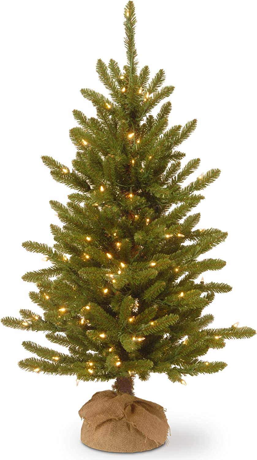 National Tree Company Pre-lit Artificial Mini Christmas Tree | Includes Small Lights and Cloth Bag Base | Great For Tabletop or Desk | Kensington Burlap - 4 ft
