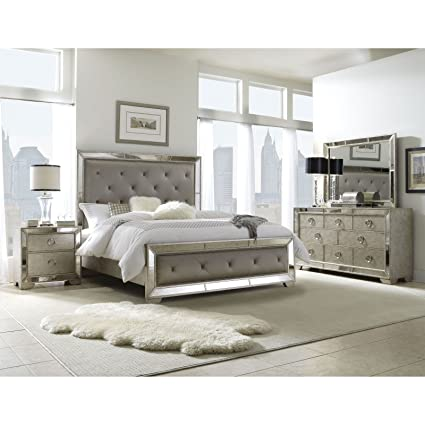 Beau Sofaweb.com Celine 5 Piece Mirrored And Upholstered Tufted King Size  Bedroom Set