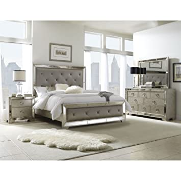 5 piece Mirrored and Upholstered Tufted Queen size Bedroom Set. Amazon com  5 piece Mirrored and Upholstered Tufted Queen size