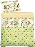 biberna 27206/426/014 Soft-Seersucker Bettwäsche Kinder und Jugend, nach Öko-Tex Standard 100, ca. 100 x 135 cm + 40 x 60 cm, Farbe: pistazien grün