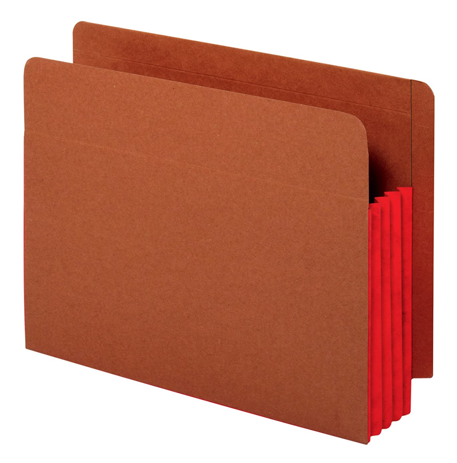 Globe-Weis End Tab File Pockets, 3.5-Inch Expansion, Red Tyvek Gusset, Brown Cover, Letter Size, 10 Per Box (63686)