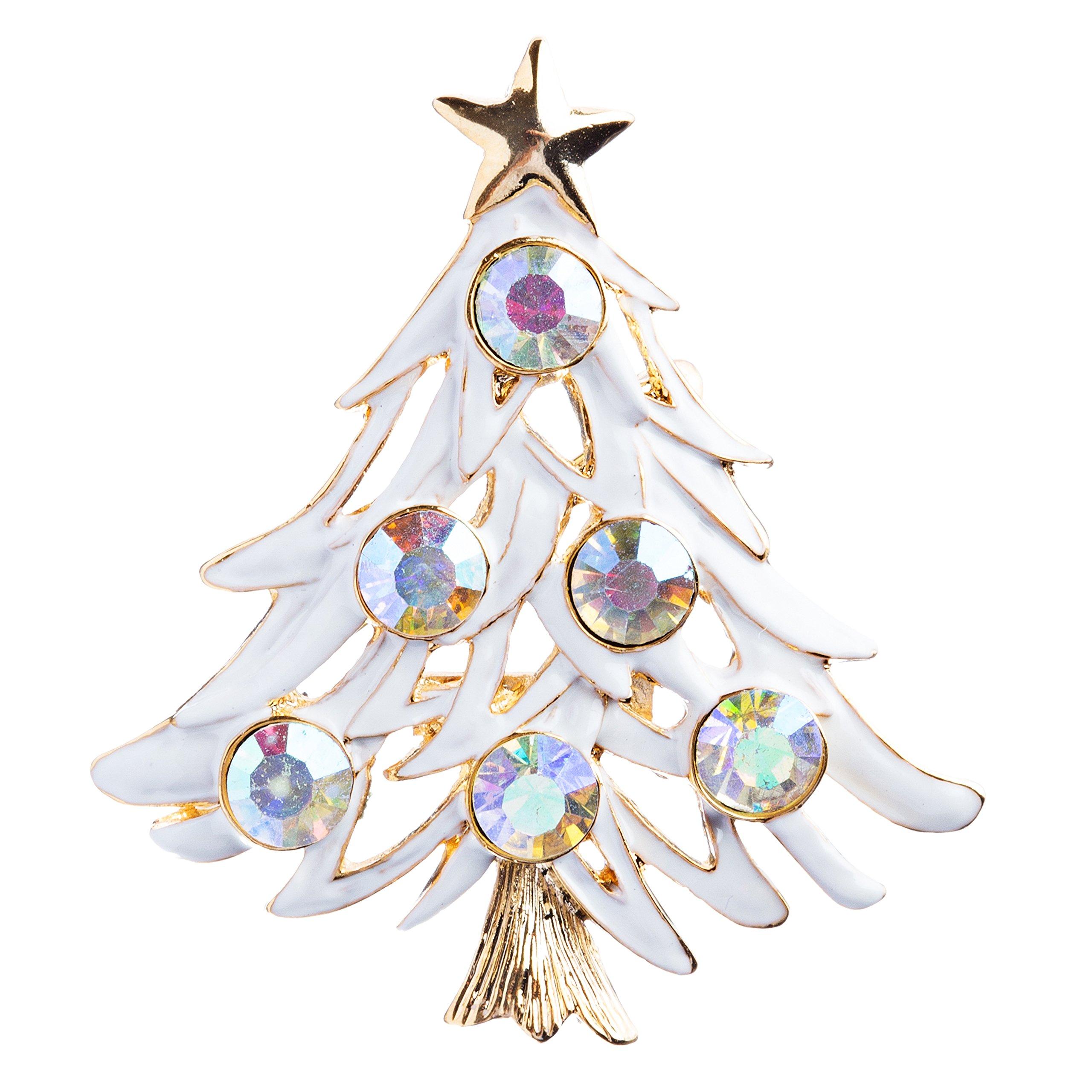 ACCESSORIESFOREVER Christmas Jewelry Crystal Rhinestone Elegant Colorful Tree Brooch Pin BH87 Multi
