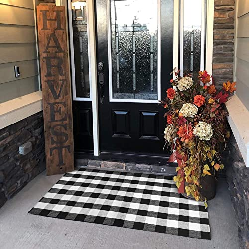 USTIDE 100 Cotton Hand-Woven Black and White Buffalo Check Rug 35.4 x59 Washable Area Carpet