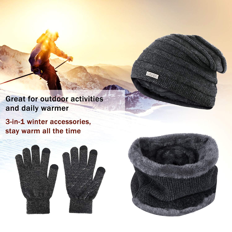 Gifort Unisex Winterm/ütze Strickm/ütze Touchscreen Handschuhe Schal Fleecefutter Dicke Schal Set Knit Outdoor Sport