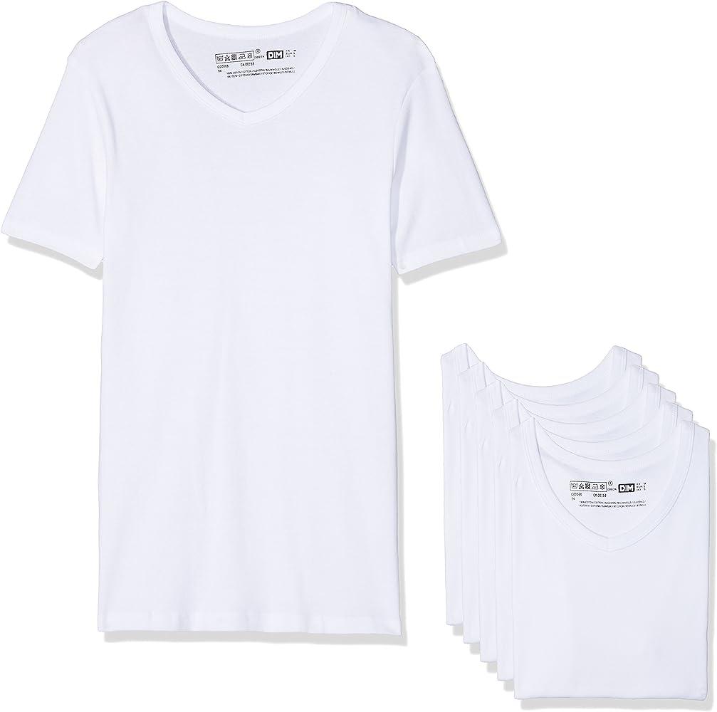Dim Ecodim T Shirt Col V X6 Camiseta, Blanc (Blanc 0hy), M (Pack ...