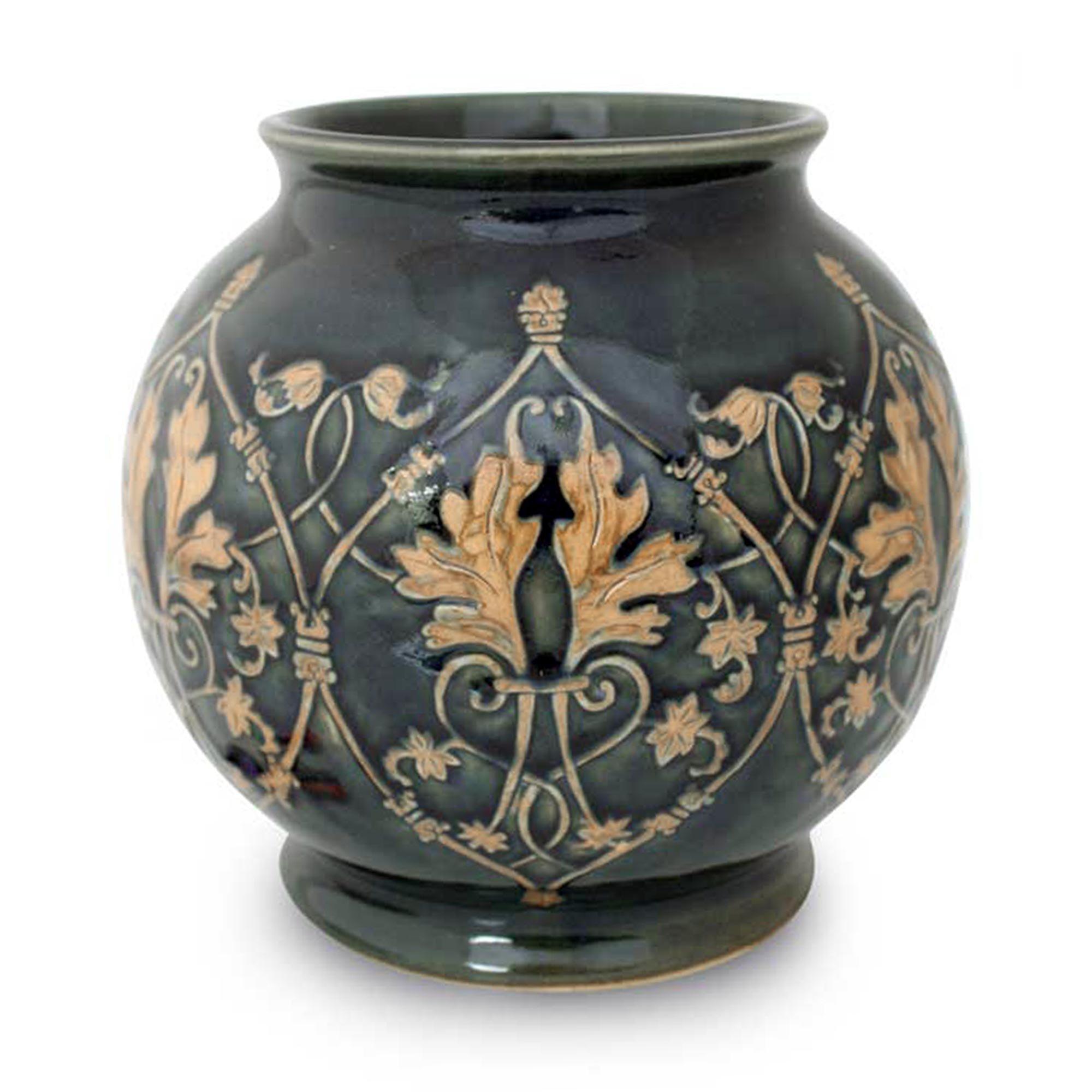 NOVICA Decorative Celadon Ceramic Vase, Green, 'Thai Emerald'