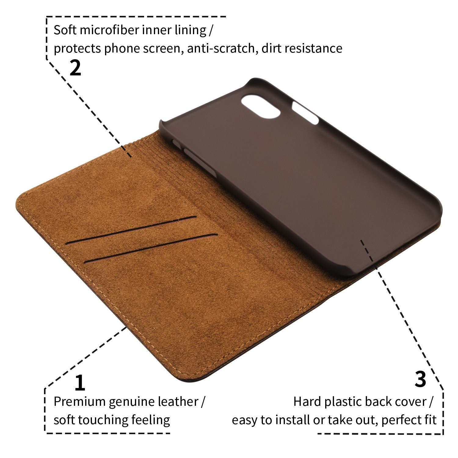 iPhone X Case, iBazal Stand Folio Leather Case, Vintage Handmade Genuine Leather Flip Case with magnetic Closure for iPhone X / iPhone 10 5.8\'\' (2017) - Brown