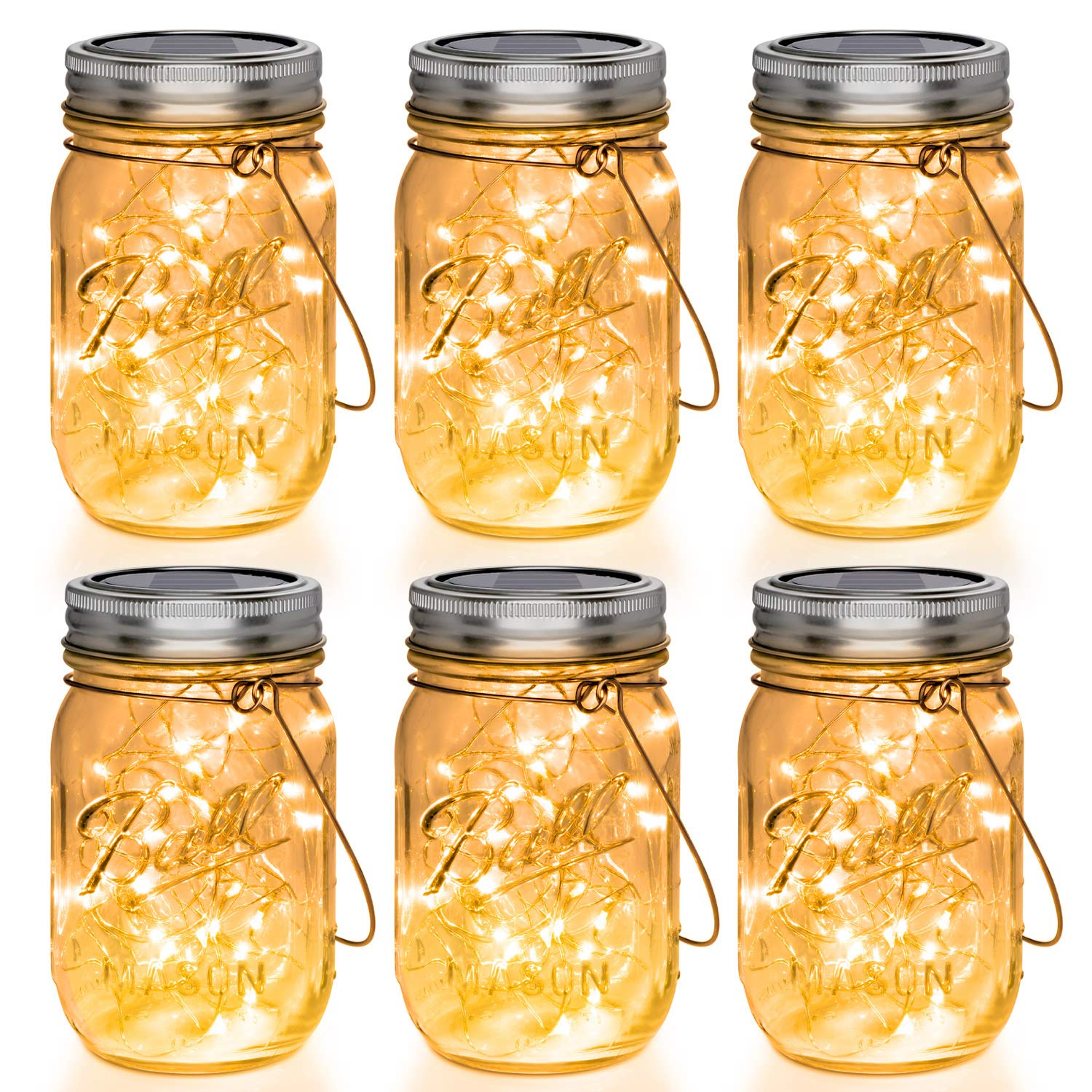Mason Jar Lights 30 LED, 6 Pack Hanging Solar Lights Outdoors, Waterproof String Fairy Lights Solar Lanterns for Patio Garden, Yard and Lawn Decor(Jars Included) by Mlambert