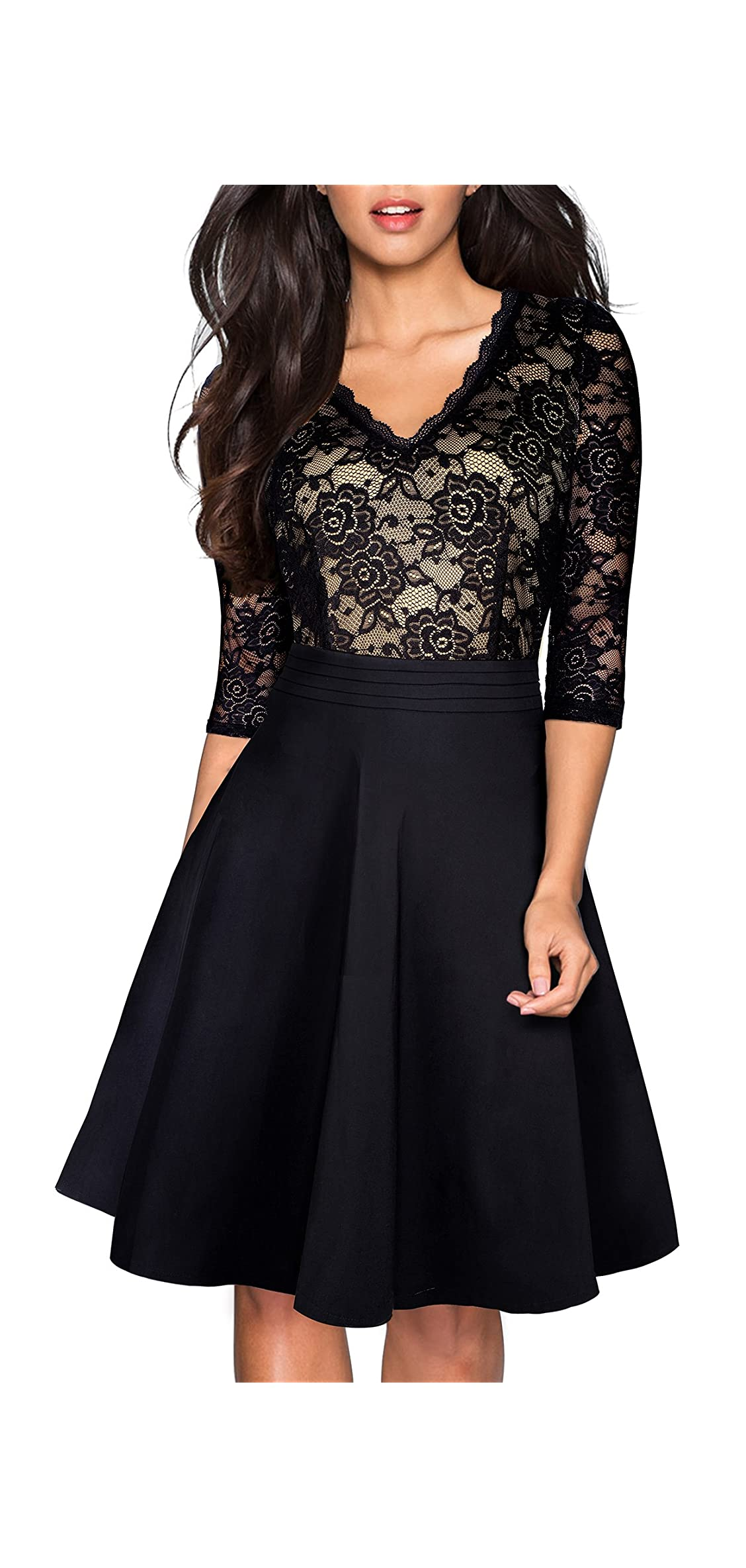Women's Chic V-neck Lace Patchwork Flare Party Dress